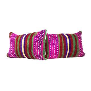 Colored Large Lumbar Kilim Pillows - A Pair