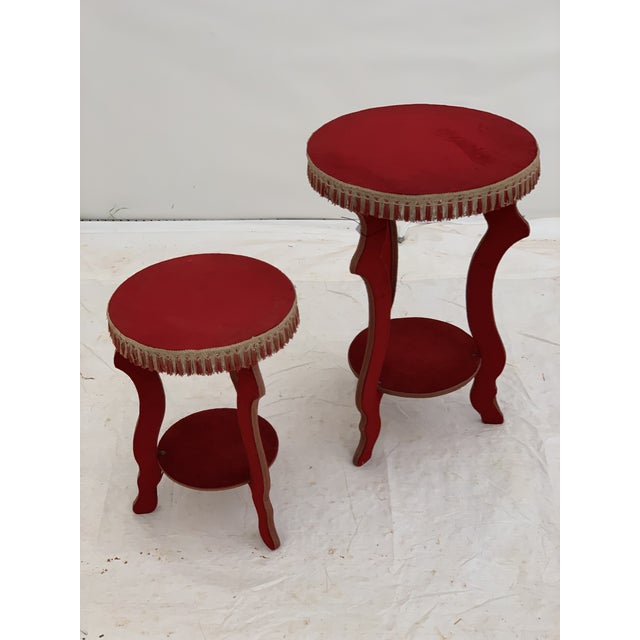 Red 1970s Hollywood Regency Red Fringe Tables - a Pair For Sale - Image 8 of 8