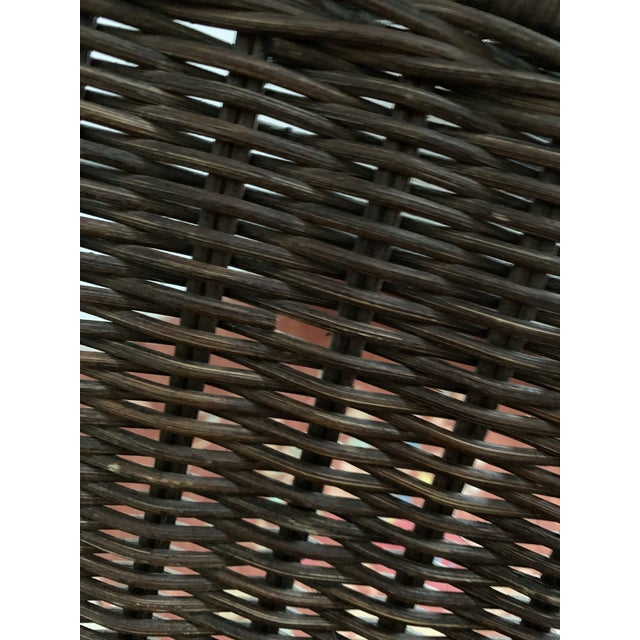Coffee Wicker and Iron Lounge Chair For Sale - Image 8 of 9