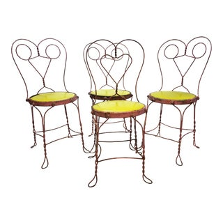 Vintage Shabby Pink Metal Ice Cream Parlor Bistro Chairs - Set of 4 For Sale
