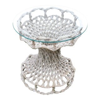 Boho Chic Macrame Open Weave Accent Side Table For Sale