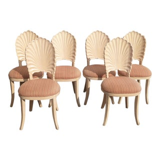 Mid Century Modern Grotto Style Shell Back Dining Room Chairs- Set of 6 For Sale