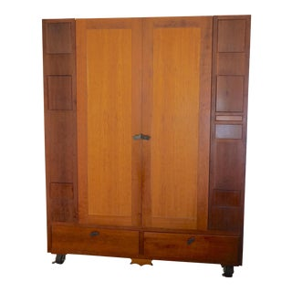 1990s Modern Cherry Wood Armoire For Sale