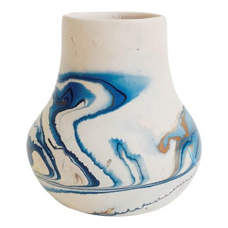 Vintage Nemadji Pottery Vase - Blue Swirls