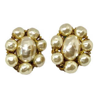 Miriam Haskell Baroque Pearl Clip on Earrings For Sale