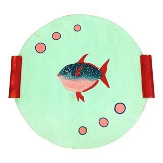 Folk Art Primitive Double Sided Painted Rooster Fish Serving Tray For Sale