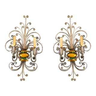 1930s French Silver Scroll Double Light Sconces - a Pair For Sale