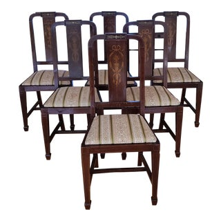 Set 6 Antique Inlaid Mahogany English Edwardian Dining Room Chairs C1900 For Sale