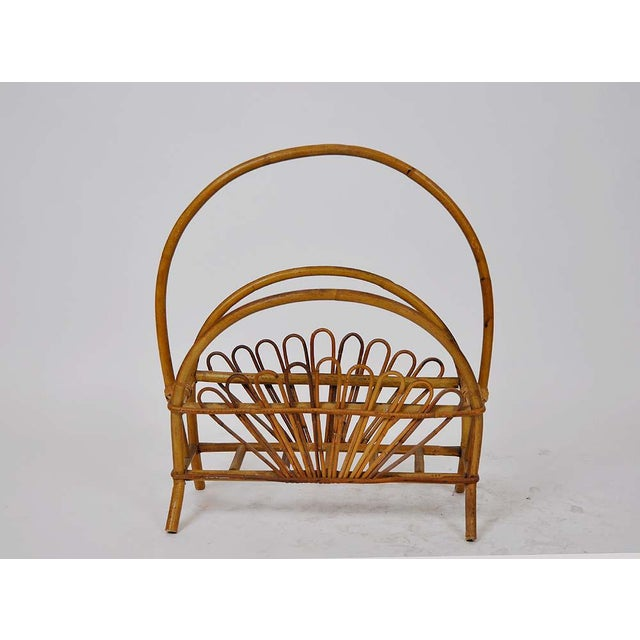 Boho Chic Vintage Bamboo Rattan Magazine Rack For Sale - Image 3 of 6