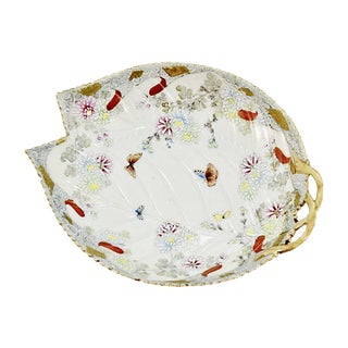 Late 19th Century Antique Asian Porcelain Butterfly Bowl Tray For Sale