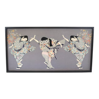 """Over 5 Feet Wide Gallery Piece: 1979 Quilted """"Dance"""" Geisha Framed Textile Art by Isao Homma For Sale"""