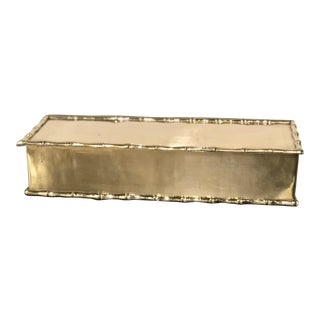 1970s Vintage Brass Bamboo Trimmed Box For Sale