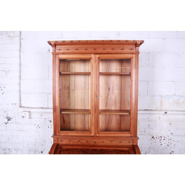 19th Century Eastlake Victorian Carved Walnut and Burl Wood Cylinder Desk With Glass Front Bookcase For Sale - Image 4 of 13
