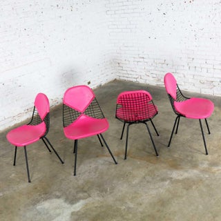 4 Dkx-2 Wire Bikini Shell Chairs W/ X Bases & Hot Pink Bikinis by Eames for Herman Miller Preview