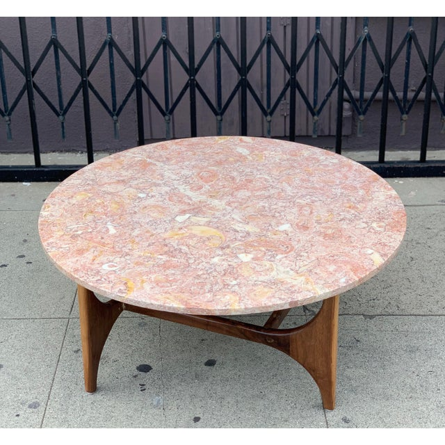 2010s Rose Marble Top With Walnut Base Coffee Table For Sale - Image 5 of 13