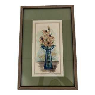 1970s Vintage Signed Floral Watercolor Painting For Sale