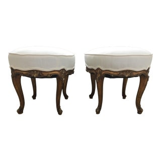 Pair of 19th C Italian Gilt Footstools For Sale