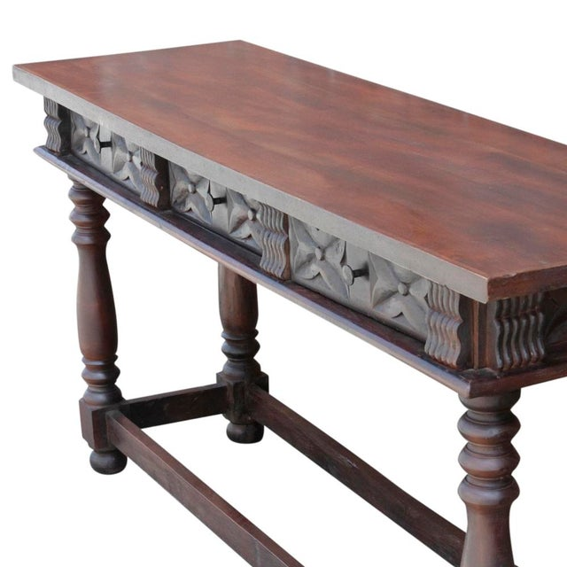Mediterranean Carved Teak Spanish Colonial Console For Sale - Image 3 of 9