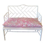 Image of Chinese Chippendale Faux Bamboo Lacquered Pink Cushion Arm Bench For Sale
