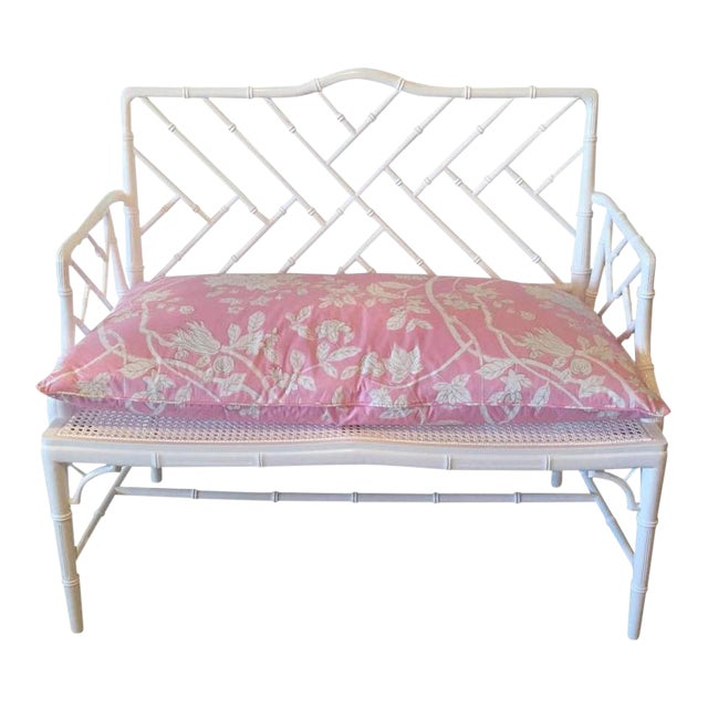 Chinese Chippendale Faux Bamboo Lacquered Pink Cushion Arm Bench For Sale