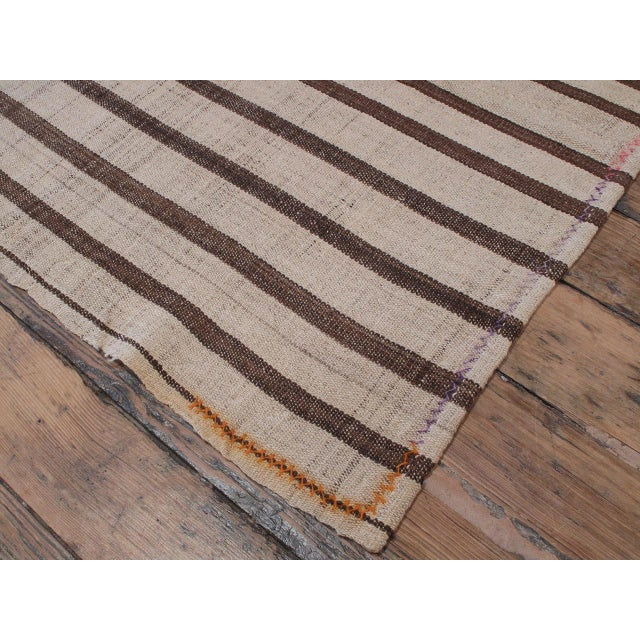 """Islamic Striped """"Jajim"""" in Brown and Ivory For Sale - Image 3 of 6"""