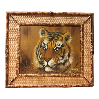 Vintage Signed Rex Tiger Oil Painting in Bamboo Frame For Sale