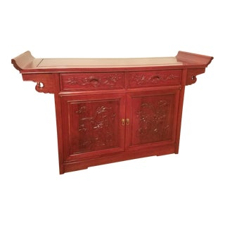 Vintage Chinese Rosewood Imperial Dragon Credenza For Sale