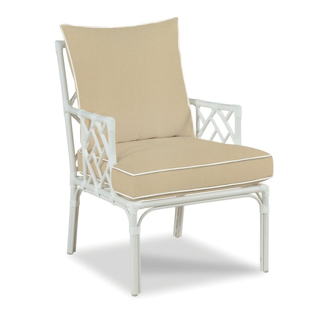 Traditional Haven Outdoor Occasional Arm Chair, Antique Beige and White For Sale - Image 3 of 3