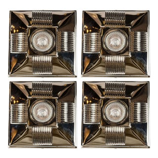 Art Deco Style Polished Nickel Spotlight with Streamline Design For Sale