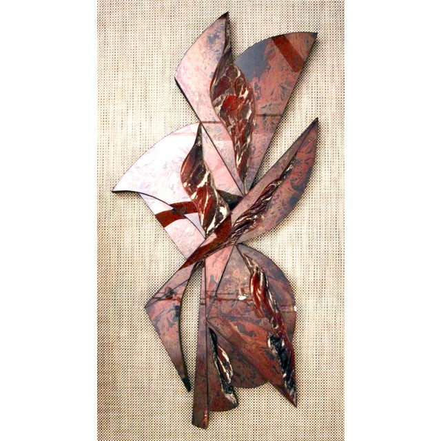 Highly textural, large, wall-hung sculpture in high gloss resin and sculpted matte finished relief areas, mounted to deep...
