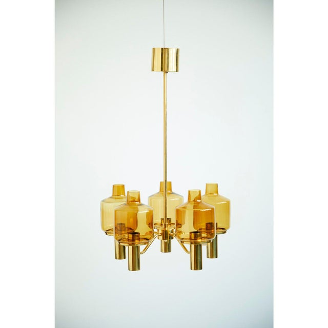 1960s Brass and Glass Chandelier by Hans-Agne Jakobsson For Sale - Image 5 of 5