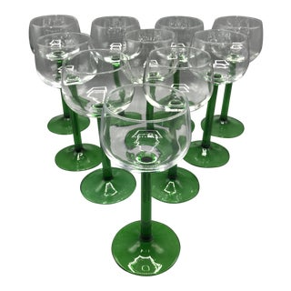 1970s French Emerald Green Stem Wine Glasses - Set of 10 For Sale