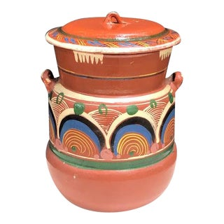 Tlaquepaque Mexican Pottery Lidded Canister For Sale