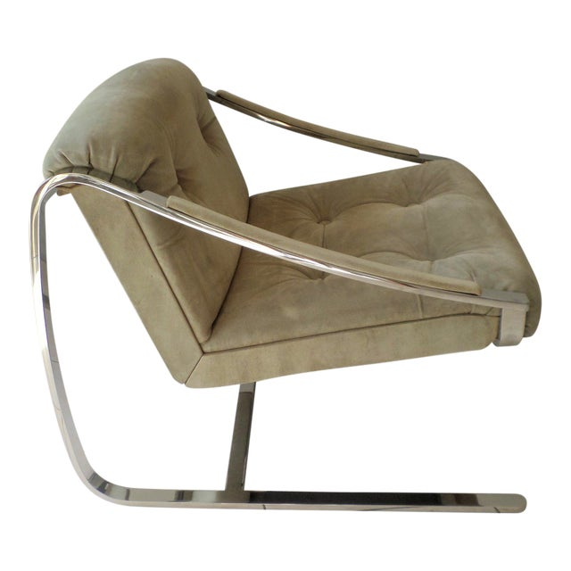 """Brueton Cantilever """"Plaza"""" Chair in Polished Stainless Steel and Suede For Sale"""
