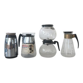 Collection of Vintage Coffee Percolators, Carafe, and Thermos For Sale