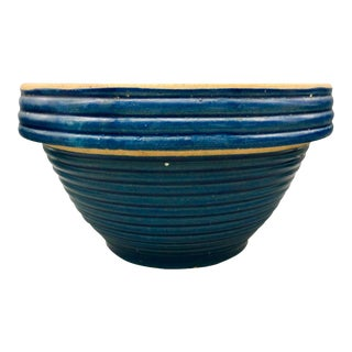 Vintage Blue Stoneware Ringed Mixing Bowl #10 For Sale