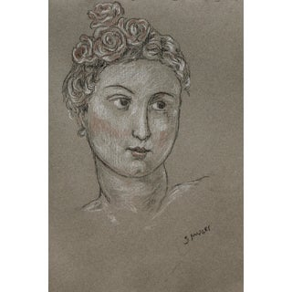"""Sarah Myers """"Lady With Roses"""" Charcoal and Conte Drawing For Sale"""