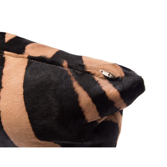 Contemporary Zebra Stencil Printed Cowhide Lumbar Pillow For Sale - Image 3 of 5