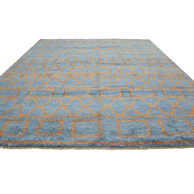 Textile Orange and Blue Moroccan Style Rug With Modern Design, 10'05 X 13'00 For Sale - Image 7 of 10
