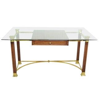 Vintage Hollywood Regency Italian Brass Oak & Glass Campaign Style Writing Desk For Sale