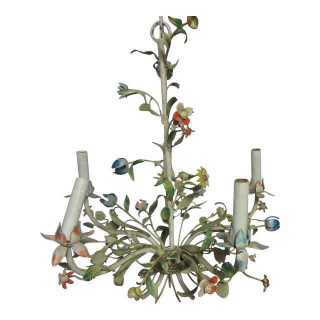 1950s Italian Tole Chandelier With Multi-Color Flowers For Sale