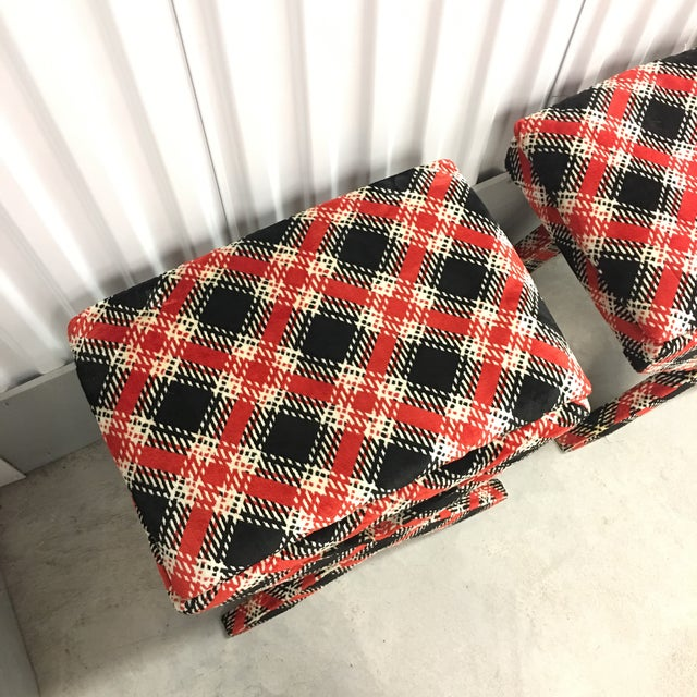 Velvet Plaid X Bench Stools- a Pair For Sale In New York - Image 6 of 7