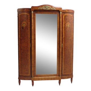 Antique French Inlay Brass Ormulu Wardrobe Armoire Cabinet For Sale