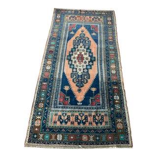 Peachy Pink & Ink Blue Vintage Turkish Rug - 4′4″ × 8′6″ For Sale