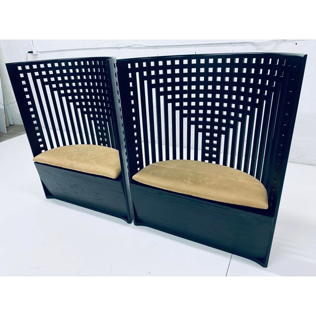 Pair of Charles Rennie Mackintosh Willow chairs originally designed for the Willow Tea Room in 1903 in Glasgow. This is a...