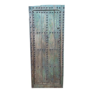 1930s Vintage Old Blue Moroccan Wooden Door For Sale