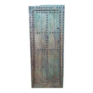 1930s Vintage Old Blue Moroccan Wooden Door For Sale