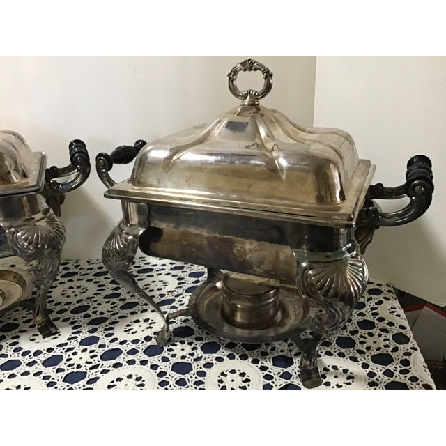 Art Deco Vintage Silverplate Covered Buffet Server Chafing Dish a Pair For Sale - Image 3 of 12