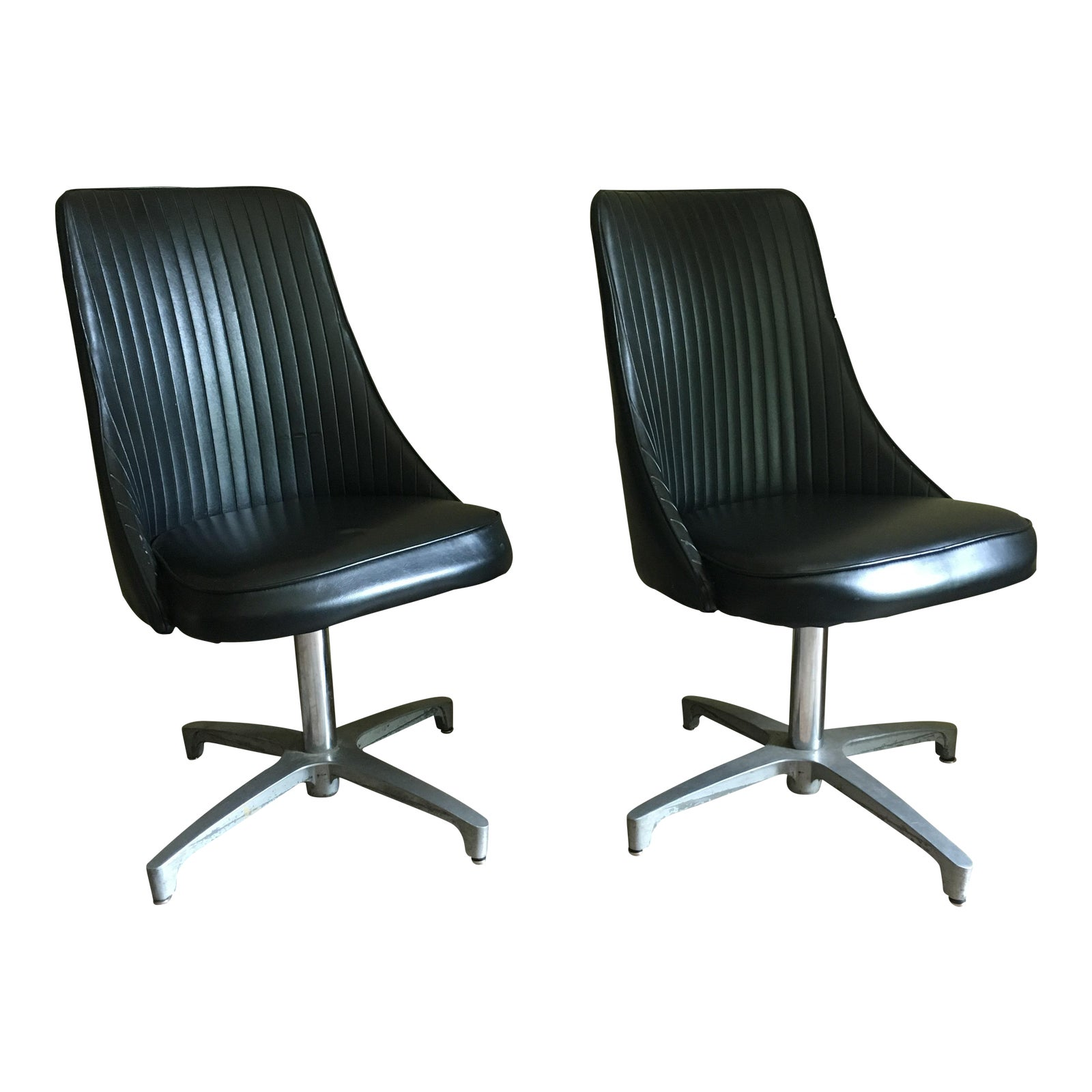 f2e1f2257d4 Vintage Chromcraft Black Chairs - A Pair