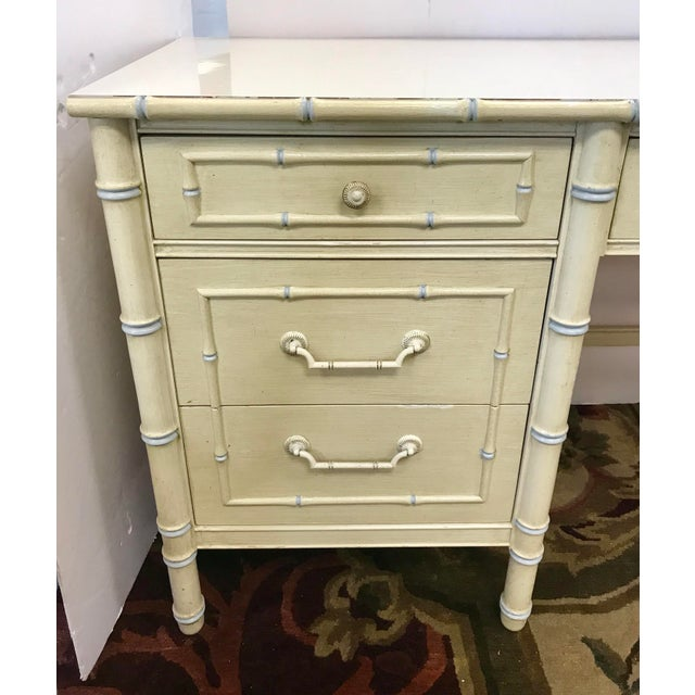 Thomasville Vintage Thomasville Cream Painted Faux Bamboo Desk and Chair For Sale - Image 4 of 10